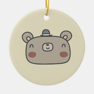 Friendly Bear With Hat Ceramic Ornament