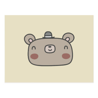 Friendly Bear With Hat Postcard