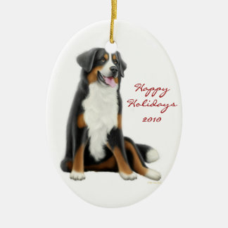 Friendly Bernese Mountain Dog Holiday Ornament