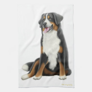 Friendly Bernese Mountain Dog Kitchen Towel