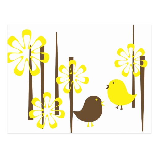 Friendly Birds in Yellow Post Card