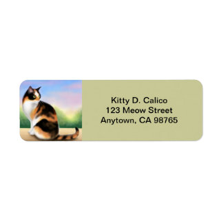 Friendly Calico Cat Customizable Return Address Label