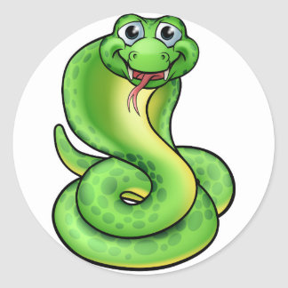 Friendly Cartoon Cobra Snake Classic Round Sticker