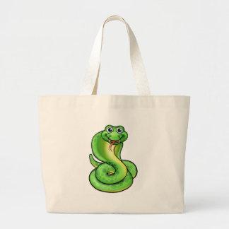Friendly Cartoon Cobra Snake Large Tote Bag