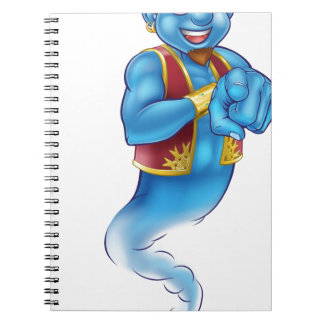 Friendly Cartoon Pointing Genie Note Books