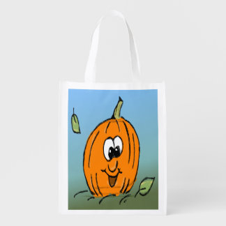 Friendly Cute Halloween Pumpkin Jack O' Lantern Reusable Grocery Bag