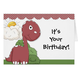 Friendly Dinosaur Birthday Party Collection Card
