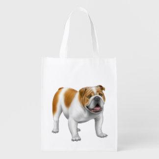 Friendly English Bulldog Grocery Tote Bag