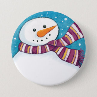 Friendly Festive Carrot Nosed Snowman Pin Badge
