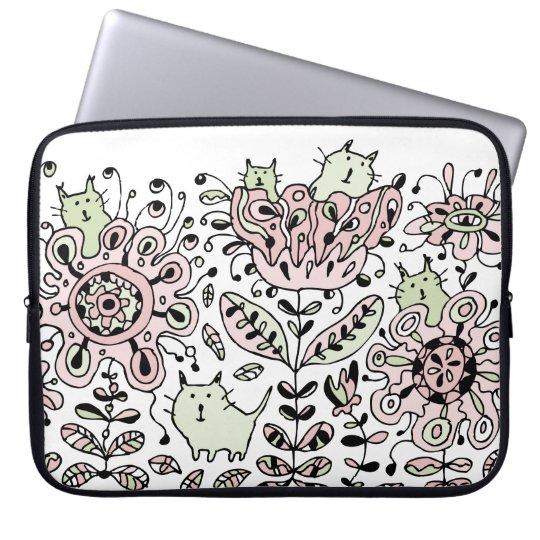Friendly Flower Cats Laptop Sleeve