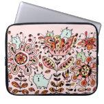 Friendly Flower Cats Pink Laptop Sleeve
