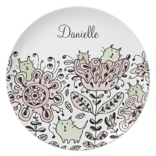 Friendly Flower Cats Plate