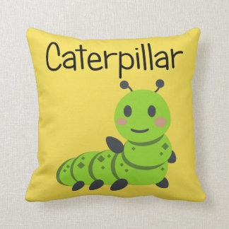 Friendly Fuzzy Green Caterpillar Throw Pillow