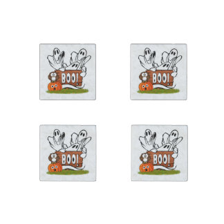 Friendly Ghosts and Pals Stone Magnet