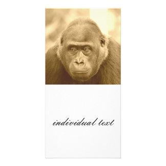 friendly gorilla, sepia photo card