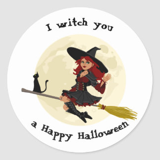 Friendly halloween witch on broom and black cat round sticker