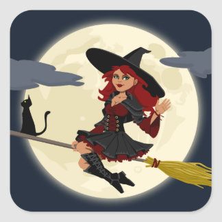 Friendly halloween witch on broom and black cat square sticker