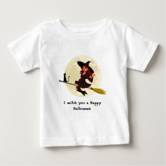 Friendly halloween witch on broom baby shirt