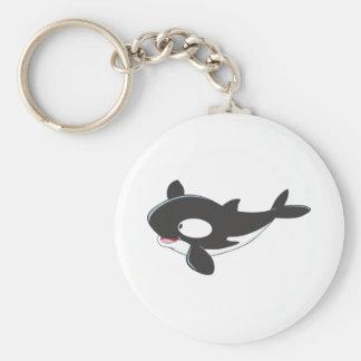 Friendly Killer Whale Basic Round Button Keychain