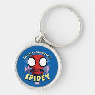 Friendly Neighborhood Spidey Mini Spider-Man Silver-Colored Round Keychain