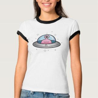 Friendly Pink Alien in Spaceship T-Shirt