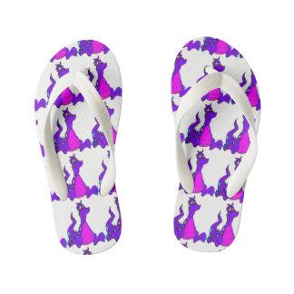 Friendly Purple Dragon Kid's Flip Flops