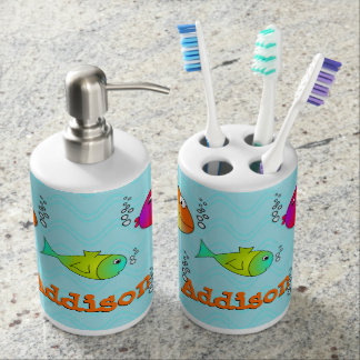 Friendly Sea Creatures Kids Soap Dispenser And Toothbrush Holder