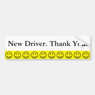 Friendly Smiley Face New Driver Thank You Text Bumper Sticker