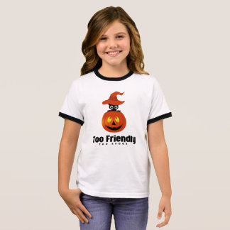 Friendly  Spook Pumpkin witch cat pointy hat Ringer T-Shirt