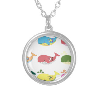 Friendly Whales Silver Plated Necklace