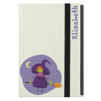 Friendly witch flying on broom at night halloween cover for iPad mini