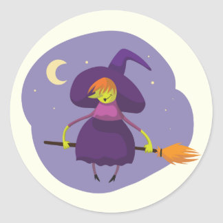 Friendly witch flying on broom at night halloween round sticker