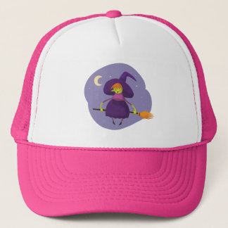 Friendly witch flying on broom at night halloween trucker hat