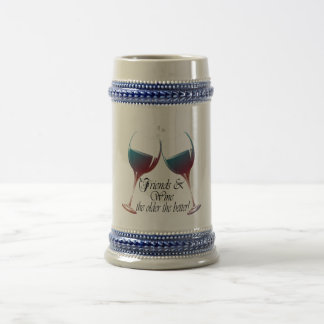 Friends and Wine, the older the better, Wine Gifts 18 Oz Beer Stein
