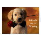 Friends are a Blessing Golden Retriever Puppy Card