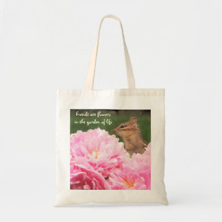 Friends are Flowers Quote Peony Totebag Tote Bag