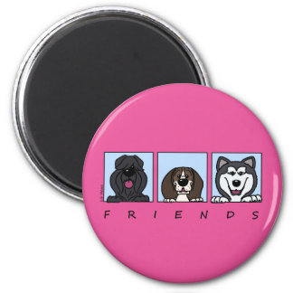 Friends: Bouvier, Beagle & Alaskan Malamute 2 Inch Round Magnet