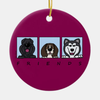Friends: Bouvier, Beagle & Alaskan Malamute Ceramic Ornament