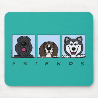 Friends: Bouvier, Beagle & Alaskan Malamute Mouse Pad