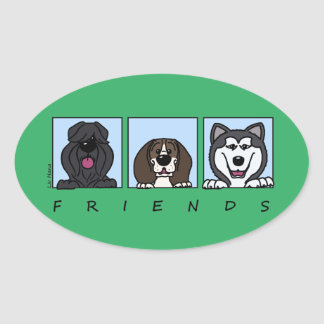 Friends: Bouvier, Beagle & Alaskan Malamute Oval Sticker