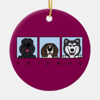 Friends: Bouvier, Beagle & Alaskan Malamute Round Ceramic Ornament