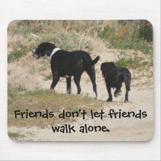 Friends don't let friends walk alone. mousepads