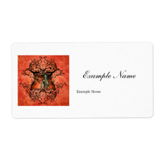 Friends, dragon with fighter in a decorative frame shipping label