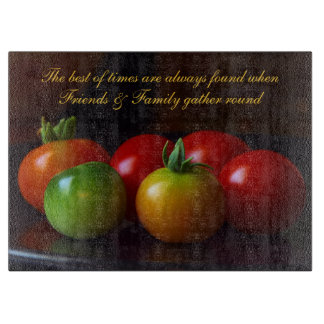 Friends & Family Quote w/ Tomatoes Cutting Board