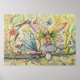 Friends Flower Fairy Fantasy Art Poster Print