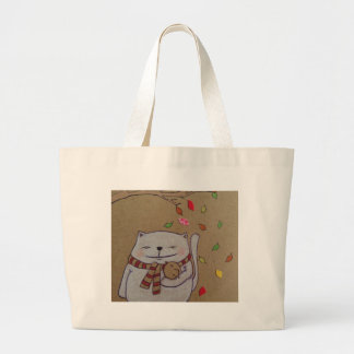 friends for life cute cat and bird hug large tote bag