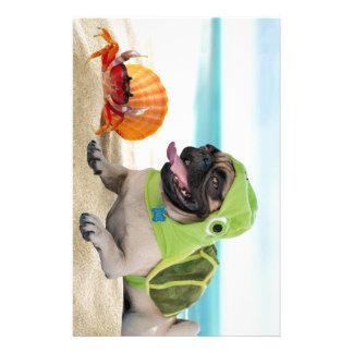 Friends Forever: Crab + Turtle Pug Stationery Design