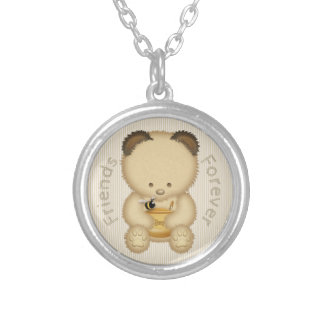 Friends Forever Cute Honey Bear And Bee Silver Plated Necklace