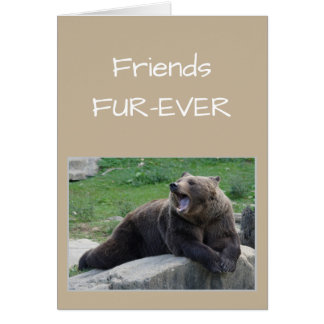 FRIENDS FOREVER OR Fur-ever Gossiping Bear Humor Card