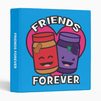 Friends Forever - Peanut Butter And Jelly Kawaii 3 Ring Binder
